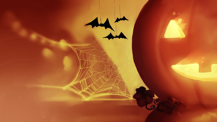 Wallpaper: Bats and Pumpkin Halloween Art