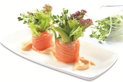 Món ngon rau mầm củ cải trắng cuộn cá hồi