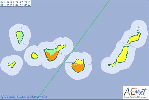 Aviso naranja calor Gran canaria y Tenerife, miércoles 20 julio