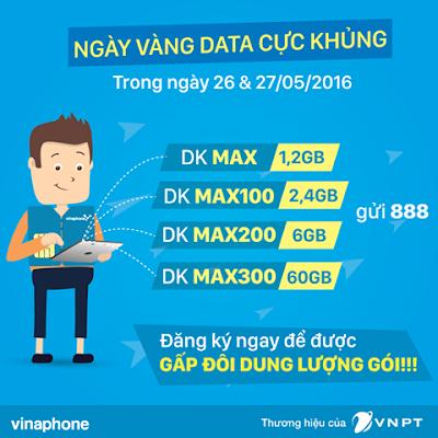 Vinaphone khuyến mãi ngày vàng data 26 - 27/5/2016