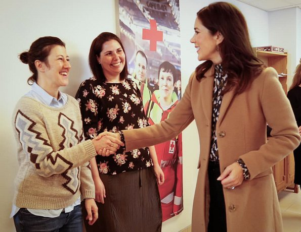 Crown Princess Mary wore Jesper Høvring Blouse and MaxMara Flared Long Coat. President of The Mary Foundation.