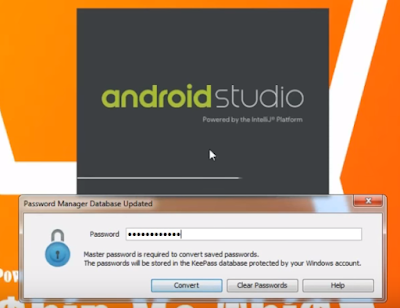 Type master password for android studio starting up.
