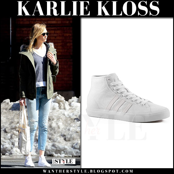 Karlie Kloss in white sneakers adidas and green jacket what she wore march 2017