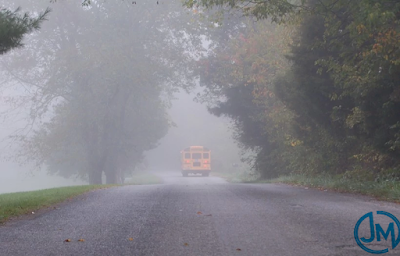 School Bus in Fog