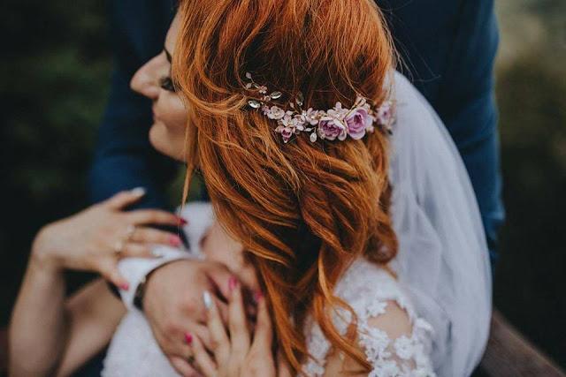 Gałązka ślubna do fryzury boho