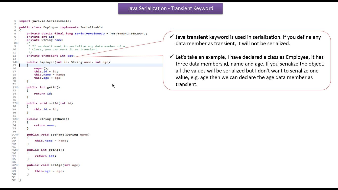 Java ee java tutorial java io java serialization with java tutorial java io java serialization with transient keyword baditri Image collections