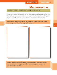 Apoyo Primaria Español 2do grado Bloque 2 lección 4 Me parezco a...