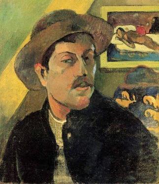 Foto a la pintura Autorretrato de Paul Gauguin con sombrero