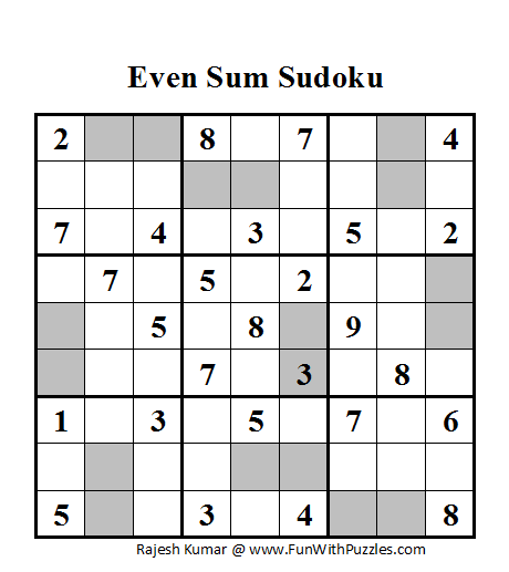 Even Sum Sudoku (Daily Sudoku League #56)