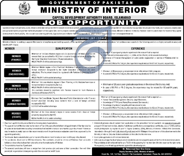 Ministry of Interior Jobs 2019 Jobs CDA Islamabad Latest