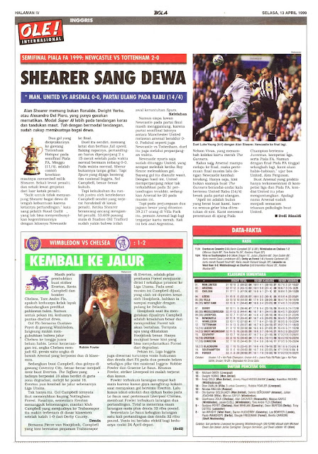 SEMIFINAL PIALA FA 1999 NEWCASTLE VS TOTTENHAM 2-0 SHEARER SANG DEWA