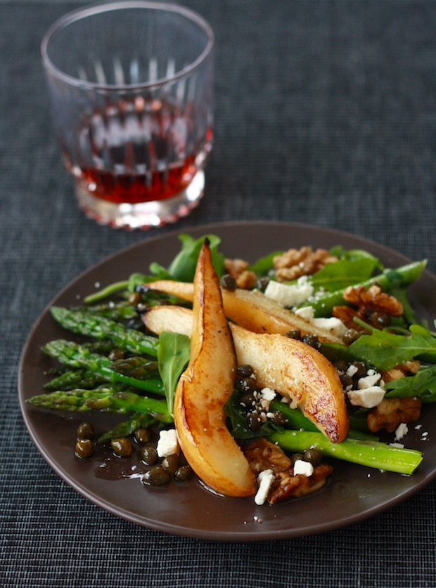 Pear and Asparagus Salad with Caper Vinaigrette by SeasonWithSpice.com for the holiday recipe
