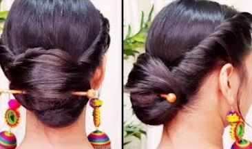 Quick Indian Bun Hairstyle for navratri | Party Hairstyles for medium | long hair | Indian hairstyles