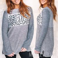 leopard design terry pullover sweatshirt