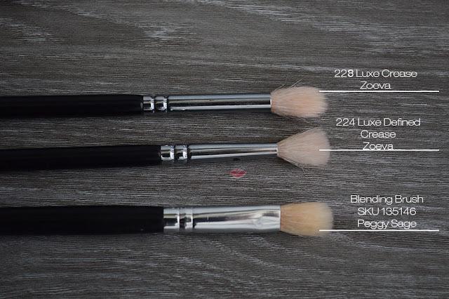 Immagini di pennello da sfumatura per occhi: 228 Luxe Crease e 224 Luxe Defined Crease di Zoeva e Blending Brush SKU 135146 di Peggy Sage