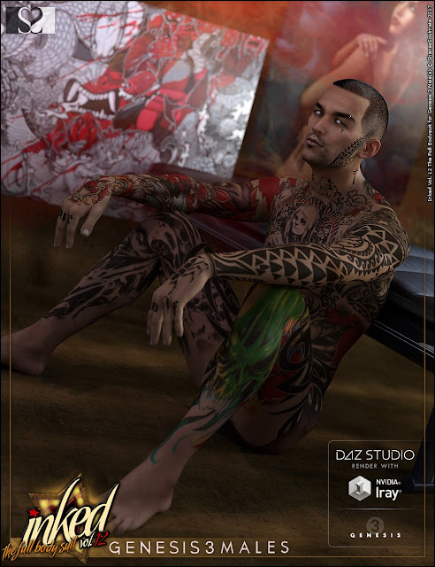 Inked Vol.12: The Full Bodysuit for Genesis 3 Male