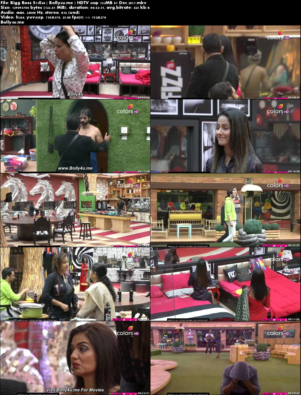 Bigg Boss S11E68 HDTV 480p 130MB 07 Dec 2017 Download