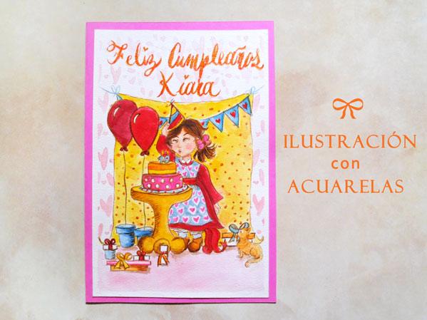 ilustración con acuarelas en una tarjeta de cumpleaños