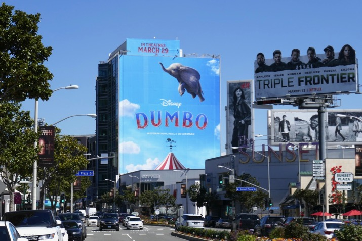 Giant Dumbo movie billboard Sunset Strip