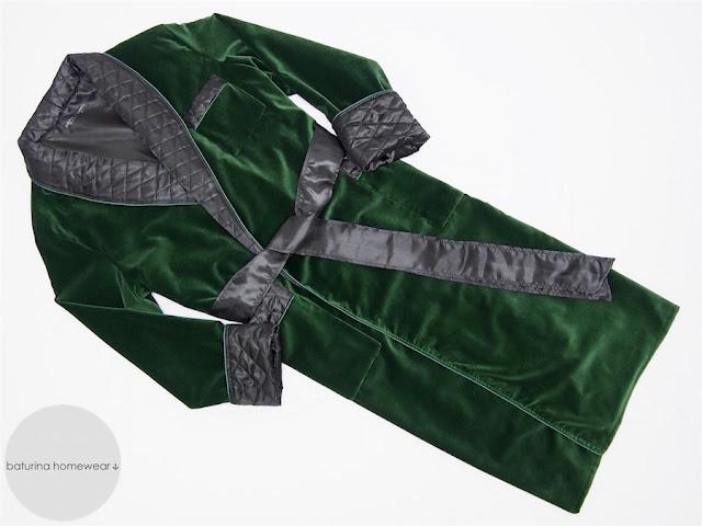 herren hausmantel samt seide grün dunkelgrün gesteppt englischer morgenmantel elegant baumwolle warm lang