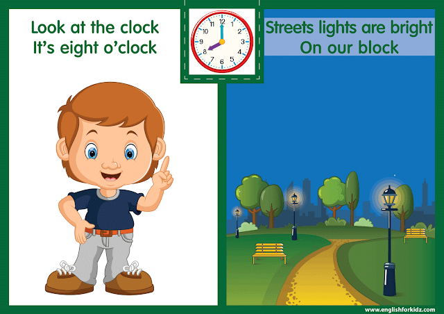Telling the time worksheet - eight o'clock on the clock - printable ESL resources