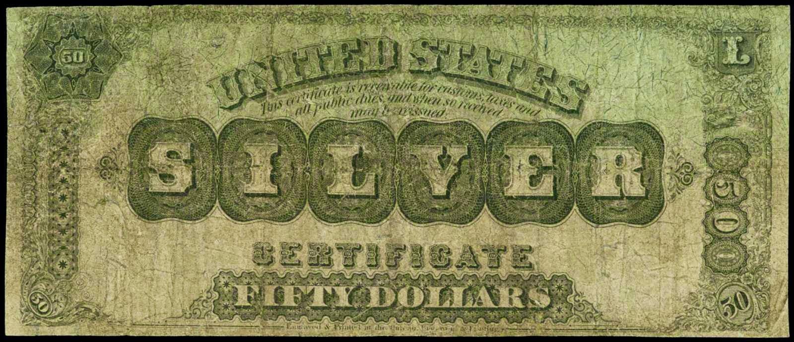 American money 50 Dollars Silver Certificate 1878