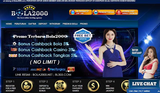 freebet gratis bola2000 khusus member baru dengan total cashback 14%