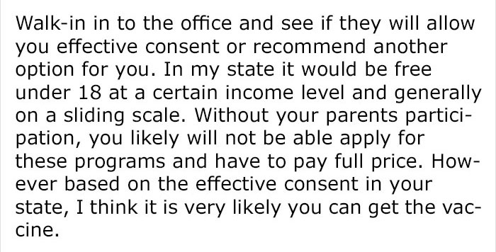 Underage Boy Asked How To Get Vaccinated Without His Parents' Consent And This Is The Reply He Got