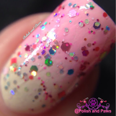 """Strawberry ShortCake"" Glitter Lambs Nail Polish Swatched by @PolishAndPaws"