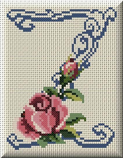 Alfabeto Monograma Com Rosas e Arabescos Em Ponto Cruz 50