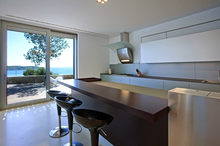 Kitchen in Modern mansion on the cliffs of Mallorca