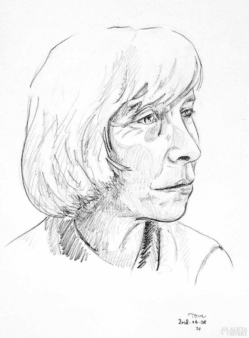 Teckningsutmaningen i juni, foto av Alicia Sivertsson. aliciasivert teckning teckningar teckna skiss skissa rita skapa skapande utmaning kreativitet skaparutmaning bloggutmaning månadsutmaning kreativ penna pennor blyertspennor blyertspenna porträtt tove jansson