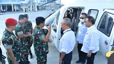 Panglima TNI Pantau Lokasi Gempa Melalui Udara