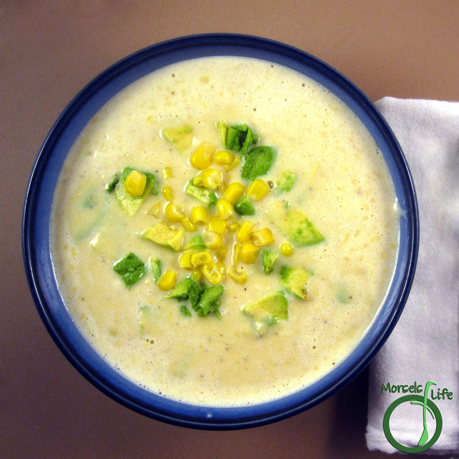 Morsels of Life - Mexican Corn Soup - This Mexican Corn Soup's perfect for a cold day - creamy corn and spiciness topped with avocado to bring comfort and warmth.