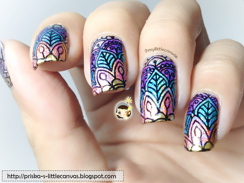 Arabesque Reverse Stamping with Holographic Polishes by @mylittlecanvas
