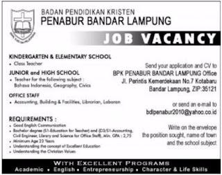 Open Rekruitmen April 2017 From BPK PENABUR Bandar Lampung