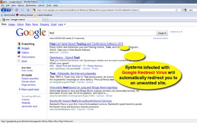google redirect virus solution