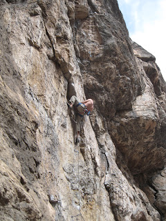A 5.12a sport climb at the Puoux in Glenwood Canyon