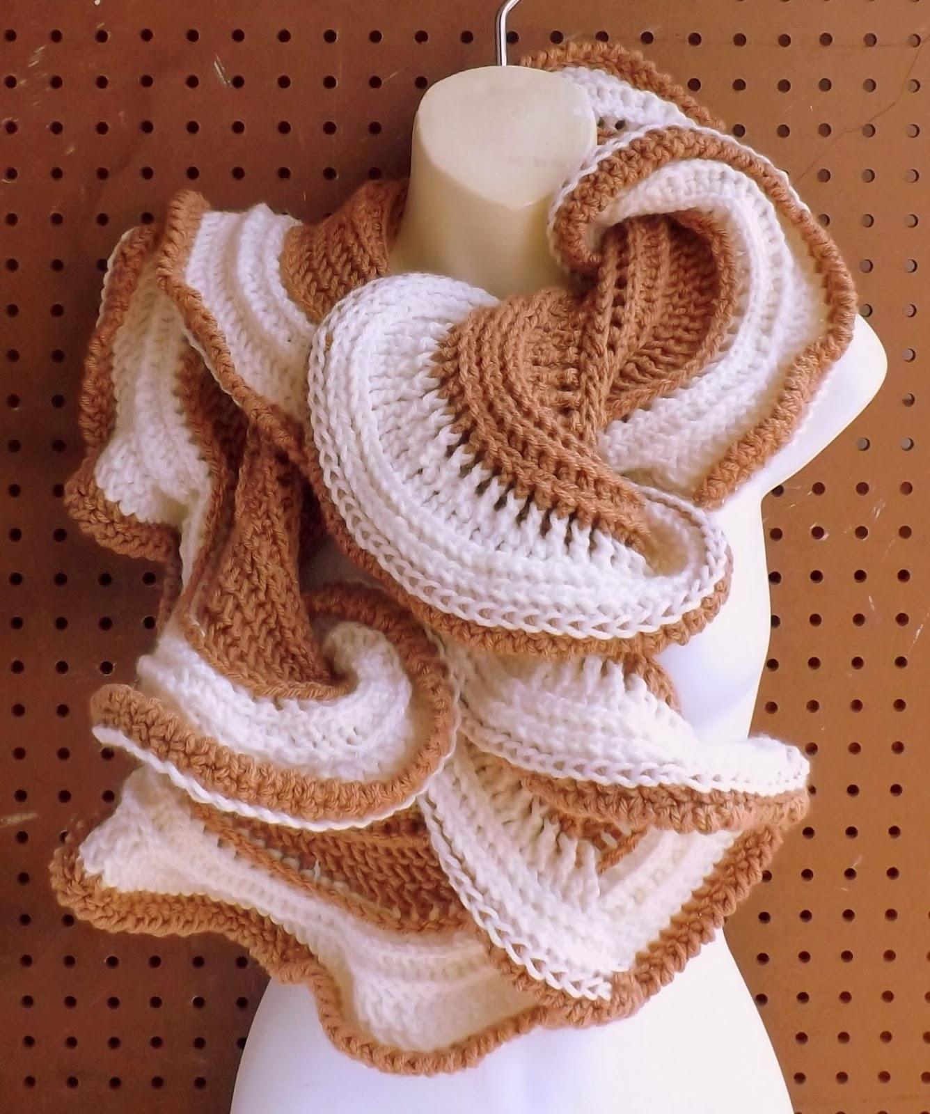 LATTE Crochet Ruffle Infinity Cowl Scarf