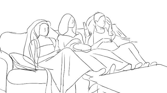 Rysunek inspirowany sceną z serialu Przyjaciele - trzy przyjaciółki siedzą na kanapie w sukniach ślubnych, jedzą popcorn i oglądają telewizję pijąc.