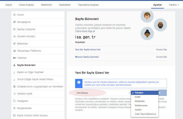 facebook admin ekle