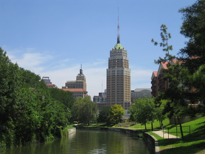 Tower Life Building view from San Antonio riverwalk
