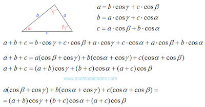 Law of cosines for perimeter. Perimeter of triangle. Mathematics For Blondes.