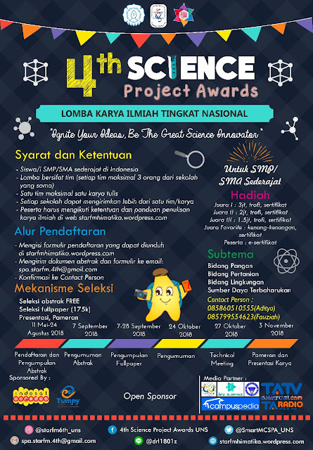 Science Project Awards (SPA) 2018