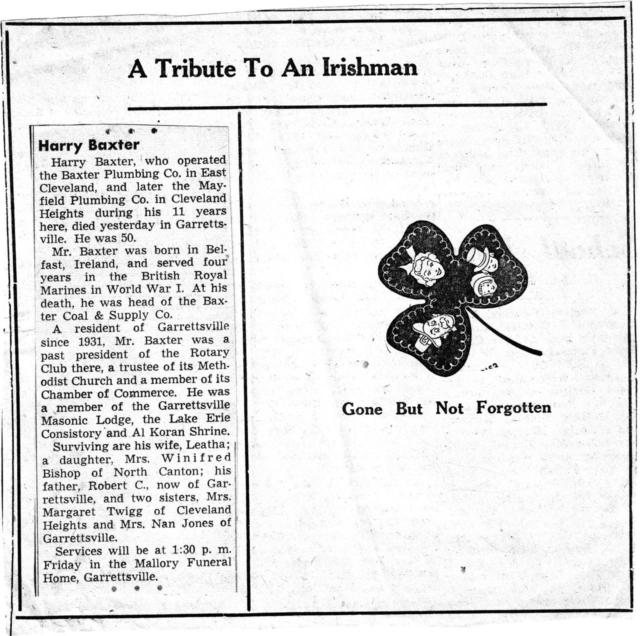 A Sense of Family: Tribute to an Irishman: Harry Baxter