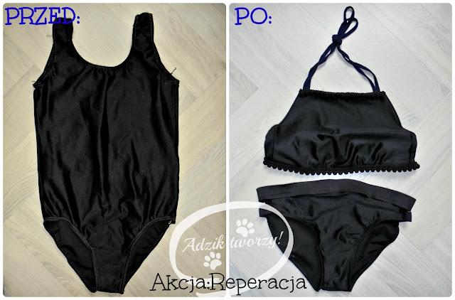 przeróbka diy starego stroju kąpielowego na bikini - Adzik tworzy