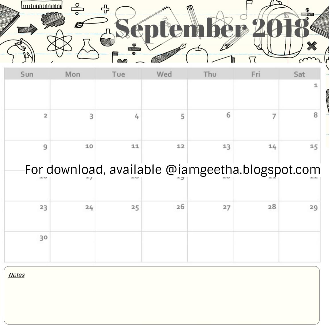 Iamgeetha Printables Planner Free Printable September Calendar