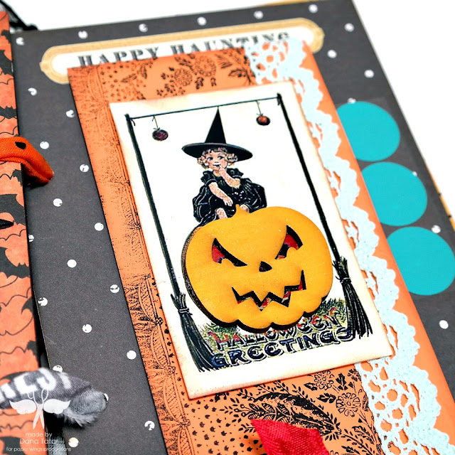 Halloween Greetings Stamped and Embellished Tag by Dana Tatar for Paper Wings Productions