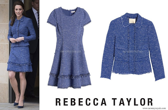 Kate Middleton wore Rebecca Taylor Sparkle Tweed Ruffle Dress and Jacket
