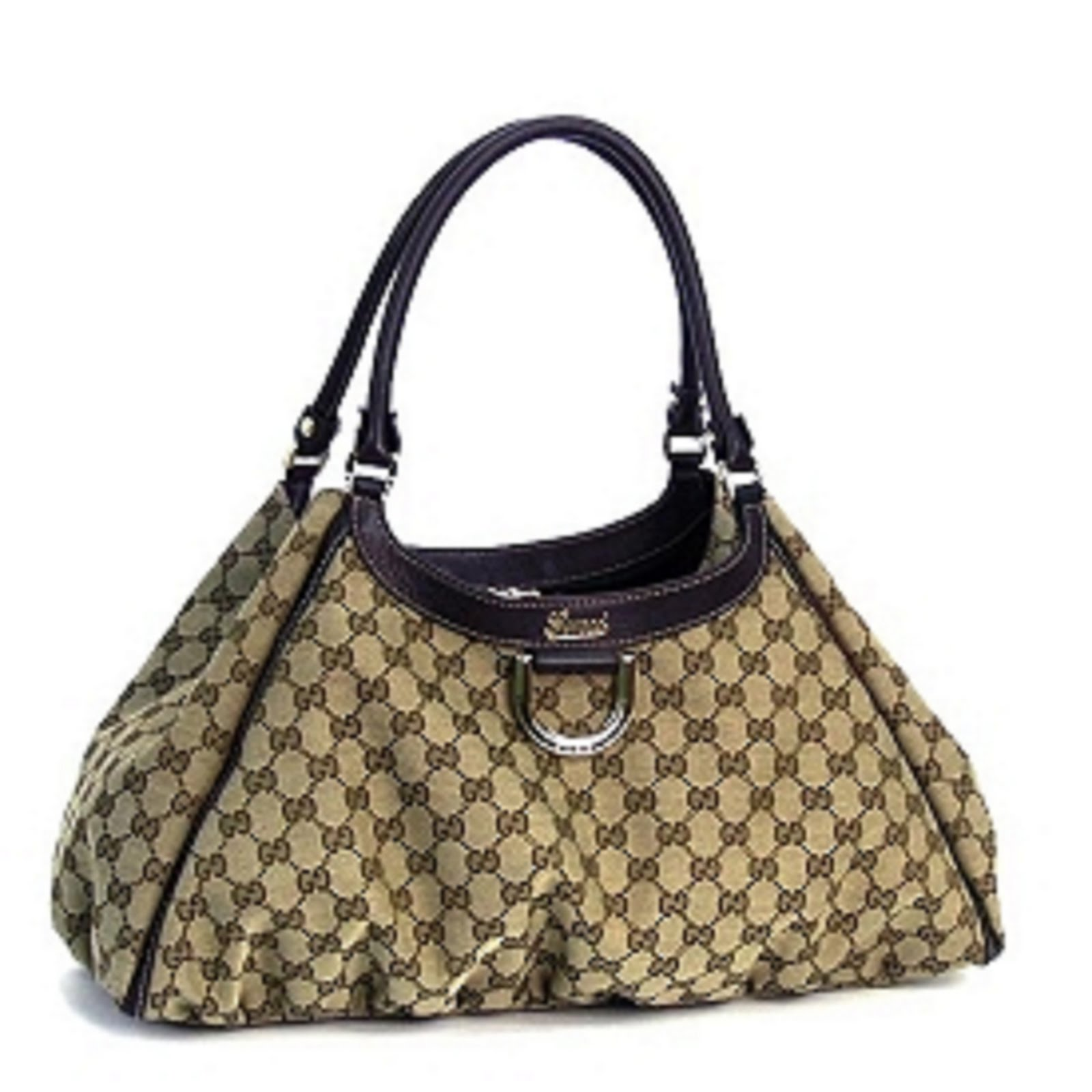 45070e430e4 Gucci Beige Brown Large D Gold Shoulder Bag.